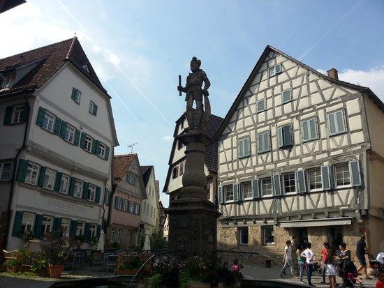 Hotel Restaurant Herrenkueferei : Hotelansicht mit Marktbrunnen