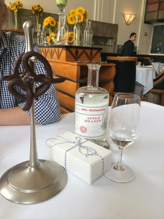 Eleven Madison Park : Chocolate covered pretzel, black-and-white cookie, and apple brandy