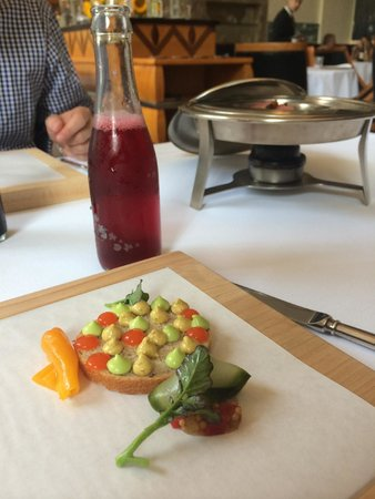 Eleven Madison Park : Pastrami with peppers, rye, mustard, and cherry soda