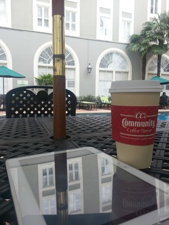 Bourbon Orleans Hotel : Hanging out by the pool with my tablet and coffee...