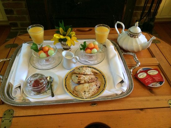Middleton Inn: First Course Breakfast Service Tray in Cottage