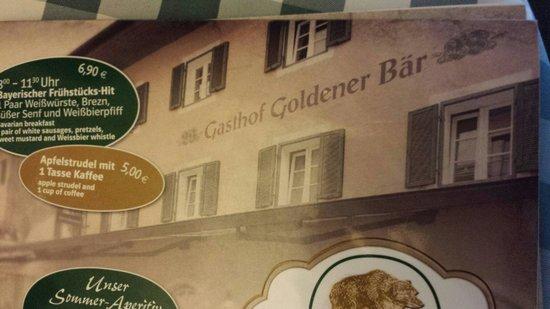 Goldener Bär: Speisekarte