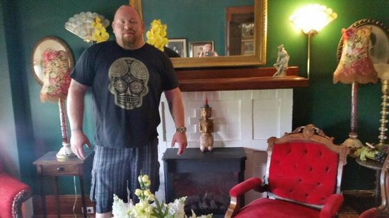 A Night to Remember B&B: my husband in the parlor