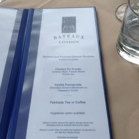 Bateaux London : set menu