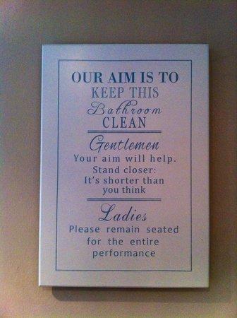 Olivia House: Olivia cafe toilette signage very funny :)