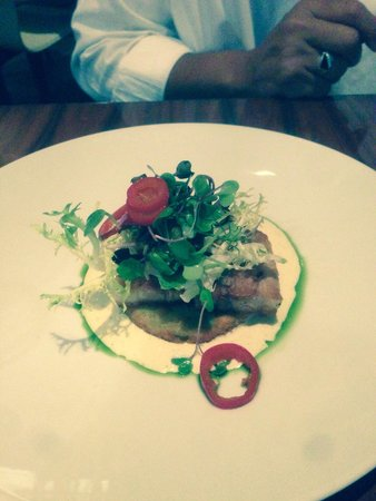 STK Midtown: Pork belly over fried green tomato- delicious