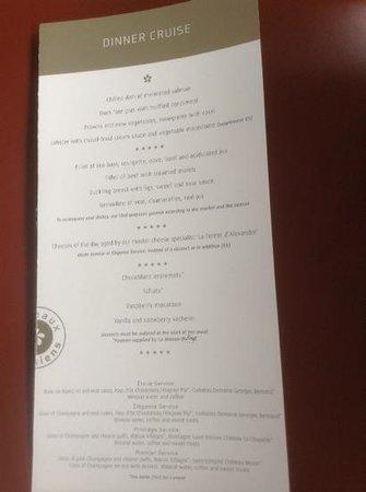 Bateaux Parisiens : our menu