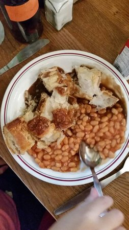 Goddards at Greenwich : Sausage roll, beans and gravy