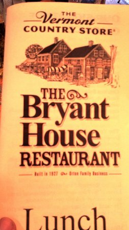 Bryant House: Lunch Menu