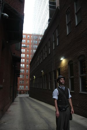 Ford's Theatre: Following the detective to the back of Ford Theater.