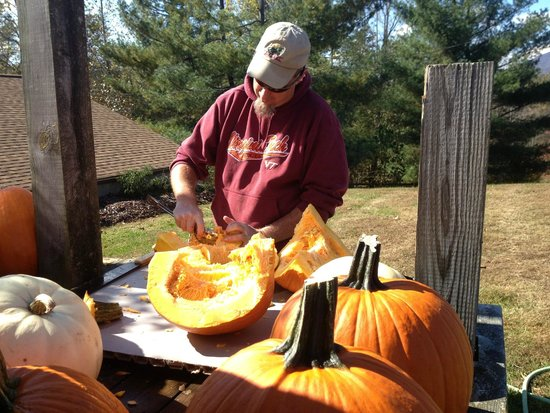 Hill Top Berry Farm & Winery: Cutting up our pumpkins for Hunter's Moon pumpkin mead