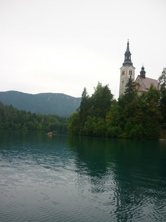 Church of the Assumption: On approach from the pletna boat