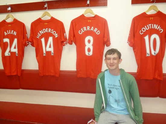 LFC Museum and Tour Centre: Grandson sat in players dressing room