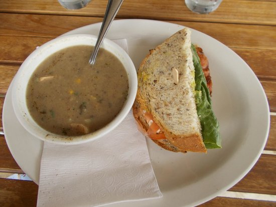 Dancing Goat Cafe & Bakery : Bacon & Avocado Sandwich with Spicy Mushroom Chicken Soup