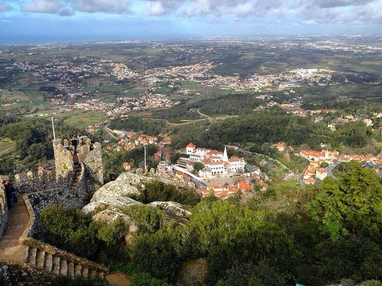 Castle of the Moors : View of Sintra and the National Palace from Castelo dos Mouros