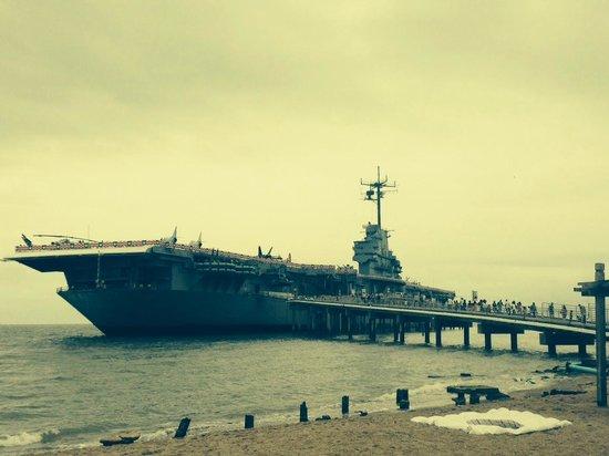USS LEXINGTON: From the shore.