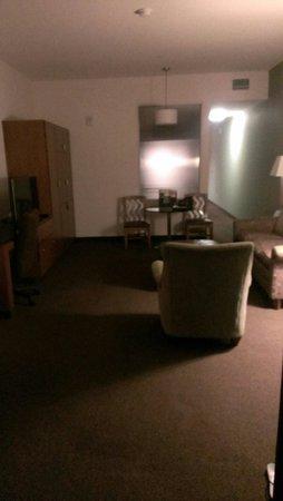 Drury Plaza Hotel San Antonio Riverwalk: Living area in king bed 2 room with terrace.
