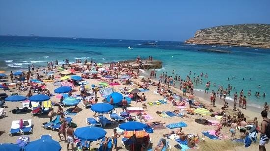 Cala Comte: This was taken on a busy Sunday in August, lots of locals seemed to visit this beach.