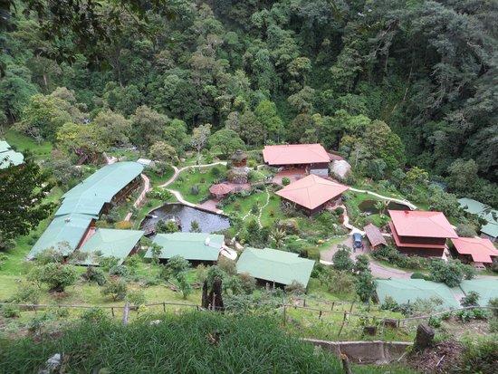 Trogon Lodge San Gerardo de Dota : View of lodge from road above