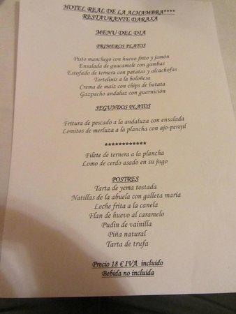 Hotel Macia Real de la Alhambra: Ejemplo de un día de menú de media pensión