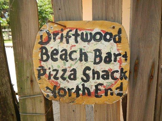 driftwood beach bar & pizza shack : sign on the door