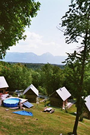 Poljsica pri Podnartu, Słowenia: Außenbereich mit Pool