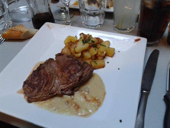 Le Bistrot de l'Ancien-Courrier : rumsteack grillé sauce foie gras