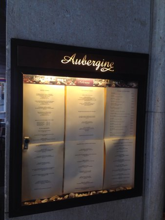 Aubergine Restaurant: Menu