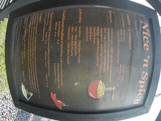 Nice 'n Spicy: the menu