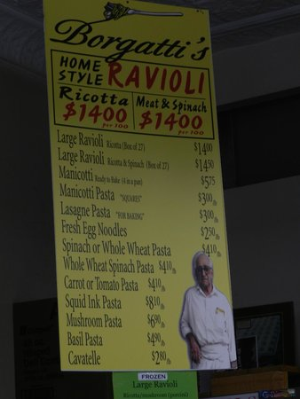 Bronx Historical Tours: Borgatti's Pasta Factory on Arthur Avenue - inside was even nicer than the menu