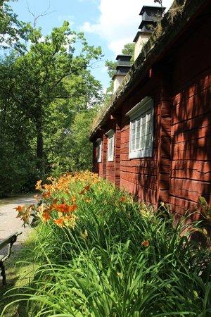 Musée de plein air de Skansen : red cottage and daylilies