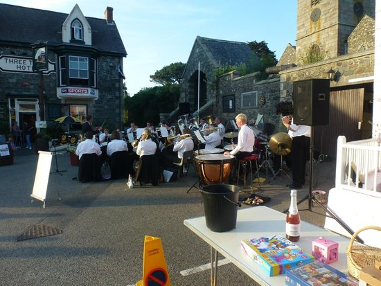 The Three Tuns Hotel: St Keverne Band playing outside The Three tuns