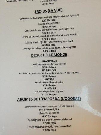 Sentits Gastrobar: Partie de la carte française