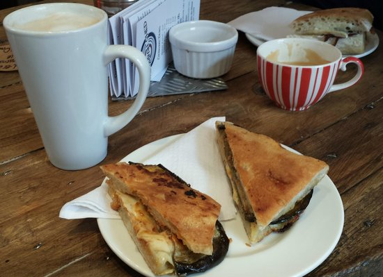 The Urban Shed: BBQ Aubergine, Swiss Cheese & Cashew Nut Butter panini