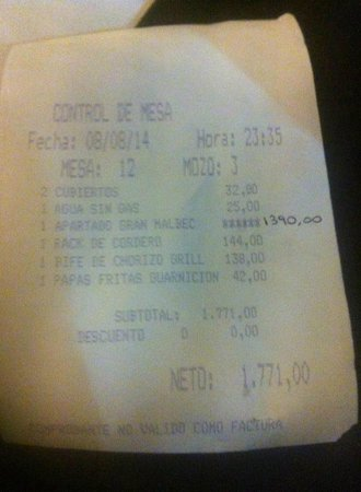 BA Sohotel : Our dinner bill.