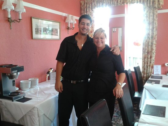 The Outlook Hotel: Michelle (owner) & her waiter.
