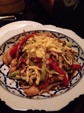 Tao : Chicken Moo Shu Stir Fry served with tortilla style pancake