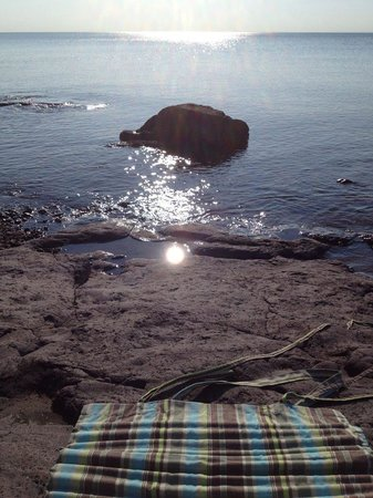 Larsmont Cottages on Lake Superior: yoga in the morning