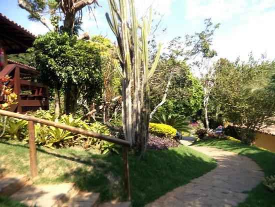 Hotel La Foret: Caminhos para os chalés - jardins