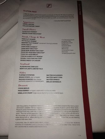 Fleming's Prime Steakhouse & Wine Bar: Extensive GF Menu
