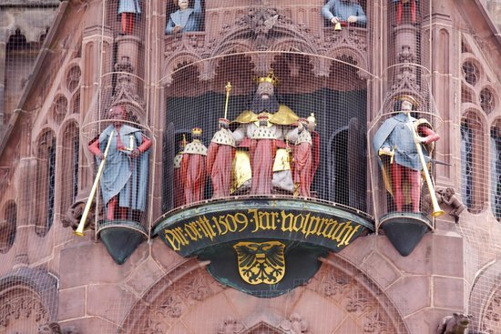 Frauenkirche: The Frauenkirch clock at noon. showing the Imperial Electos