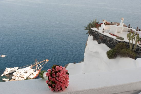 Andronis Luxury Suites: View from our hotel room of the terrace where we were married.