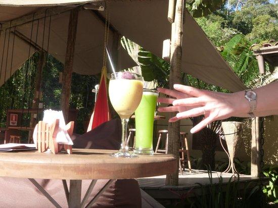 Shambhala Lounge: Reaching for a frozen drink from a hammock