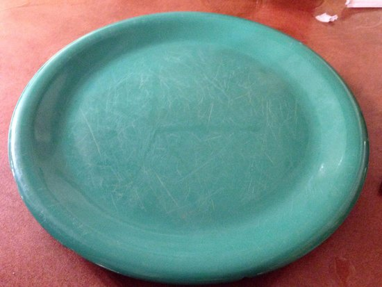 Golden Corral: One of the plates used to serve meals on - covered in scratches, a haven for bacteria and germs!