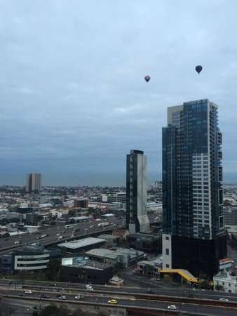 Melbourne Short Stay Apartments Southbank Collection: View from the bedroom towards Port Phillip Bay.