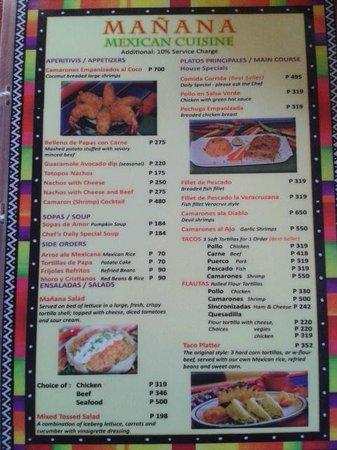 Manana Mexican Cuisine: menu