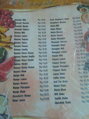 Jonah's Fruit Shake & Snack Bar: menu