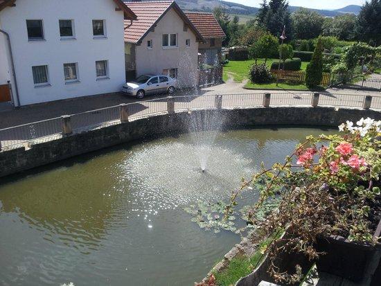 Hotel Burg Edelhof: Ansicht von der Veranda auf den Wassergraben
