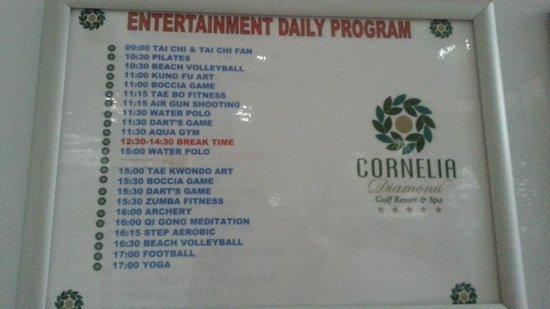 Cornelia Diamond Golf Resort & Spa: Daily Activities