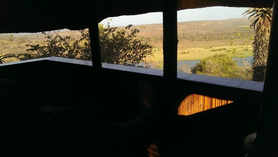 Mvubu River Lodge: View from the deck of the chalet